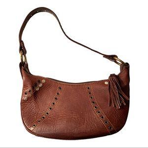 Vintage Rossini Boho Leather Studded Clutch Purse Handbag